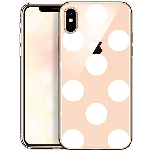OOH!COLOR Schutzhülle Kompatibel mit iPhone X iPhone XS Hülle Silikon Case Transparent dünn Handyhülle mit Motiv große weiße Punkte (EINWEG)