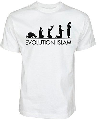 Halal-Wear Evolution Islam   Islamische Streetwear Kleidung für Muslime T Shirt BEDRUCK Outdoor Islam Fashion (M, Weiß)