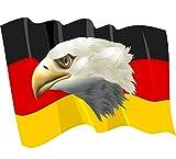 8 x 10,5 cm - Kontur geschnitten - Autoaufkleber Fahne von Deutschland wehend mit Adler Sticker Aufkleber fürs Auto Motorrad Handy Laptop