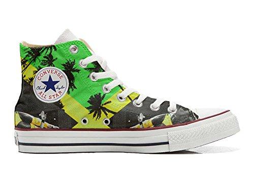 (Converse All Star Personalisierte Schuhe - Handmade Shoes - mit Farben und Themen Jamaika - TG44)