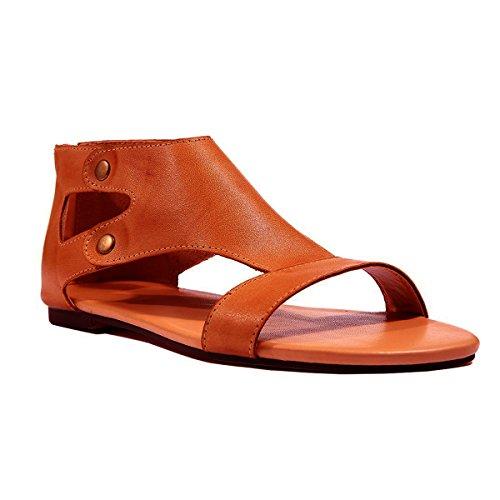 Minetom Damen Sandalen Casual Flache Badesandale Schuhe Flip-Flops Sommer Bequeme Frauen Übergröße Offene Bohemia Retro Mode Braun EU 41