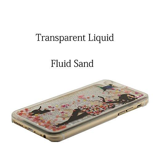 Joli Svelte iPhone 6S Plus Coque Anti choc, Clair Transparent Rigide PC Case pour Apple iPhone 6 Plus 5.5 Pouce + 1 Stylet, Écoulement Sable Liquide Eau Conception Fille Style Peinture Motif Étui Blanc-2