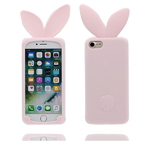 """Hülle iPhone 6 Cover, Case iPhone 6s Handyhülle, TPU Flexible Durable Shock Dust Resistant, Shell 3D Cartoon Hase Ohren, iPhone 6 Cover 4.7"""" rosa 1"""