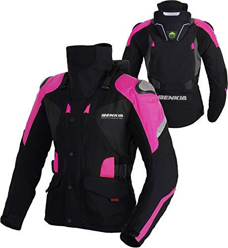 TFGY Motorrad-Rennanzug Für Damen, Winter-Outdoor-Sportjacke, Wasserdichte Warme Reitjacke,Pink,XXL