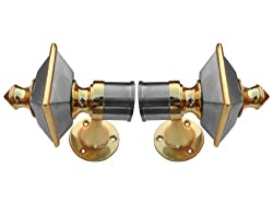 SmartShophar Zinc Curtain Bracket Hardware 2 Pc. Gold Silver Finish Opal