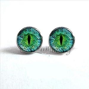 Dragon Eye orecchini verde blu o viola occhio orecchio unghie Sauron Eye gioielli fatti a mano in vetro cabochon orecchini HZ4 e Acciaio inossidabile, colore: 2, cod. sccd-rfCFS4nAgTAgow9pdEP4