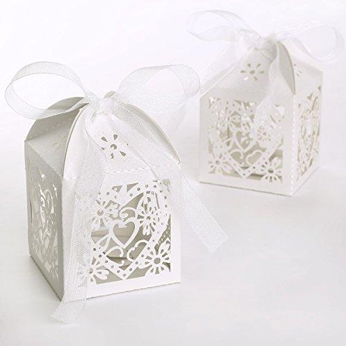 100 x Hochzeit Gastgeschenk Schachtel Weiß Geschenkbox Geschenkverpackung Geschenkkarton Bonboniere Kartonage