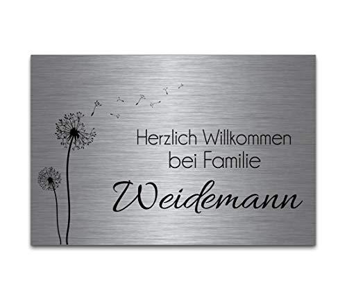 Edelstahl Türschild mit Gravur | Namensschilder Briefkastenschild selbstklebend oder mit Bohrlöcher 12x8 cm eckig mehr als 80 Motive Klingelschild - Türschilder für die Haustür mit Namen selbst gestalten