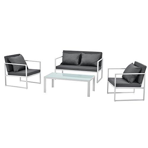[casa.pro] Mobile da giardino completo - 2 poltrone, 1 divano e un tavolino - Bianco