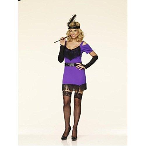 1920s 1930s Ladies Purple Flapper Charlston Fancy Dress Costume - All Sizes (Women: 8-10)