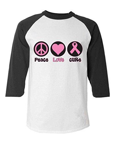 Paz amor cura béisbol camiseta lazo rosa contra cáncer
