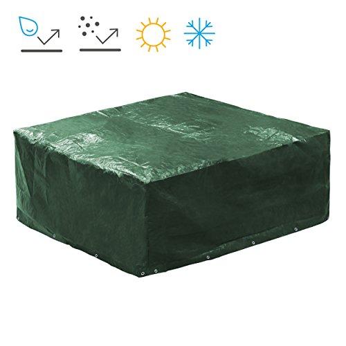 Minuma® Abdeckhaube für Gartenmöbel aus PE120 gr Material | Größe 250 x 210 x 90 cm mit 18 Metallösen für optimalen Windschutz | Die Schutzhülle ist wasserundurchlässig, reißfest, witterungsbeständig und schmutzabweisend, dunkelgrün