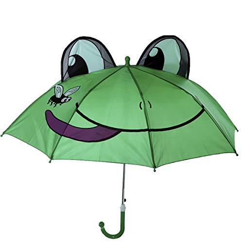 Bada Bing Regenschirm Frosch Grün Tiermotiv Kinderschirm Ca. Ø 73 cm Schirm Automatik Kinder Kindermotiv Trend 41 - Spazierstock, Größe Kind