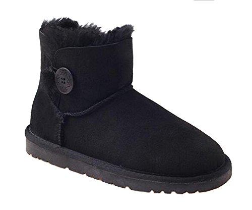 OZwear UGG Klassische Holzschnalle Warmer Schnee Kurze Stiefel Schwarz AU 6L/EU 37/ US6/ UK4 (Kurze Uggs)