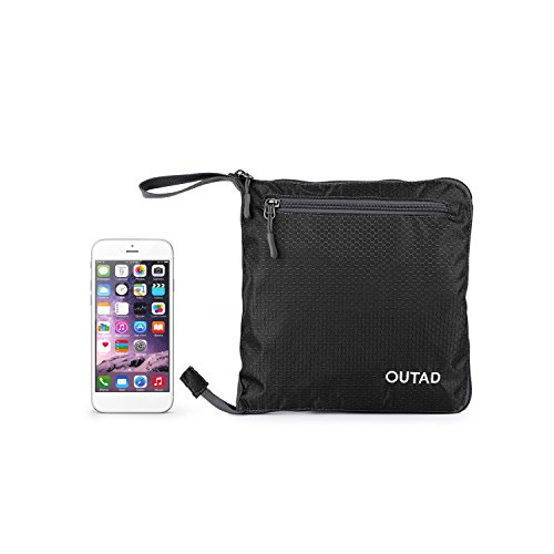 OUTAD Reisetasche - faltbare, 50l große Reisetasche ist beständig, packbar, SUPERLEICHTE 410g - lässt sich in sich falten - am besten als Gepäck oder Sporttasche (Schwarz)
