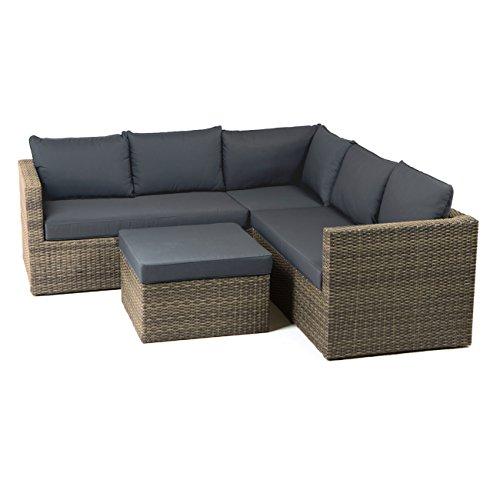 Gartenlounge Polyrattan OUTLIV. Gibson Loungemöbel Garten Outdoor Geflecht grau-braun meliert, Polster Royal grau Lounge-Set
