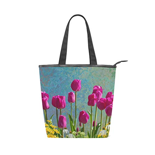 LAZEN Stilvolle Leinwand Tote Bag Handtasche 14 x 4,5 x 15 Zoll cute Tulpen