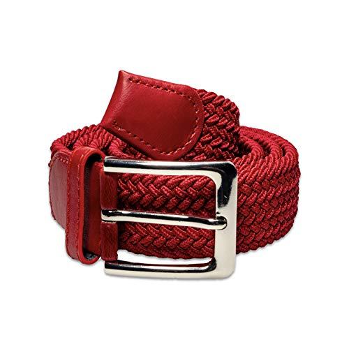Flexibler Elastischer Stretchgürtel mit PU Leder - inkl. Gratis E-Book - Dehnbarer Geflochtener Stoffgürtel für Damen & Herren Rot Gesamtlänge 110 cm -