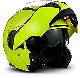 SOXON SF-99 Neon Yellow · Modular-Helm Roller-Helm Sturz-Helm Helmet Scooter-Helm Integral-Helm Cruiser Motorrad-Helm Flip-Up-Helm Klapp-Helm · ECE zertifiziert · zwei Visiere · inkl. Stofftragetasche · Gelb · L (59-60cm)