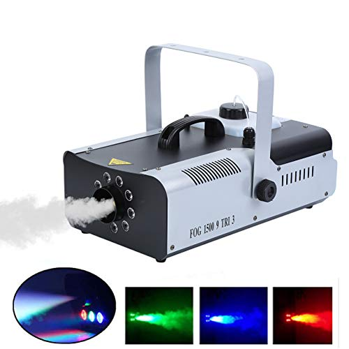MuGuang 1500W DMX Nebelmaschine Rauchmaschine Fog Machine 2L 9 LED RGB DMX für Bühnenhochzeit Disco DJ Bar Party mit Fernbedienung und Funkfernbedienung