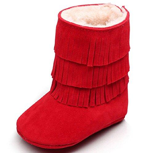 Schön Babyschuhe Schneestiefel,Amcool Baby Quasten Weiche Sohle Winter Warme Schuhe Lauflernschuhe Kleinkind Schuhe Stiefel Baby Prewalker Krippe Schuhe (6-9 Monatlich, Blau) Rot