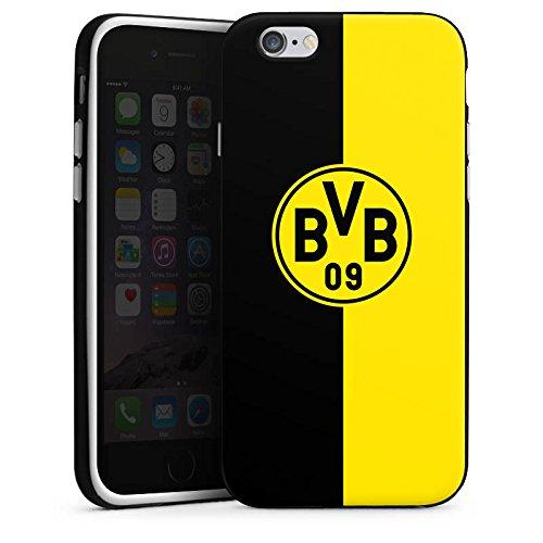 Apple iPhone 5s Tasche Hülle Flip Case Borussia Dortmund BVB Logo Silikon Case schwarz / weiß