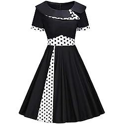 MisShow Robe de Gala Style Audrey Hepburn Vintage année 50s 60s Swing Rockabilly Pin up Robe Femme Invitée Noir 3XL