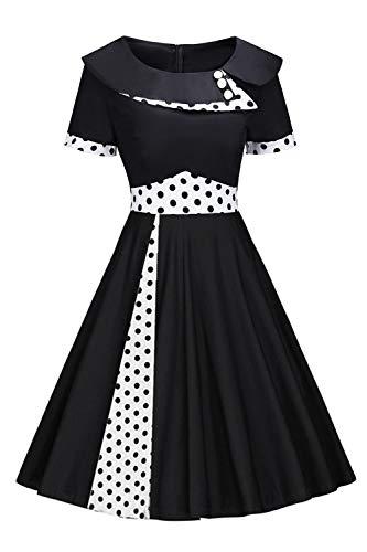 Damen Rockabilly Audrey Hepburn Kleid 60 Jahre Kleid Festlich Kleid Polka Dots Knielang XXXXL (70er Kleidung Mädchen Jahre)