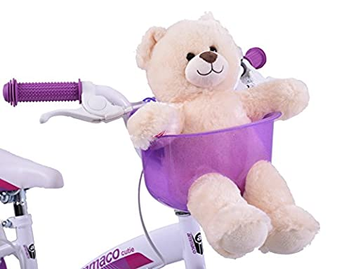 Ammaco Kids Childs Girls Boys Purple Front Teddy Dolly Bike Basket Carrier Seat