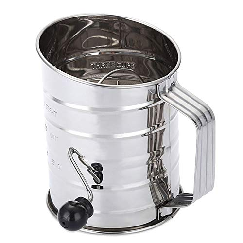 Honsin 3-Cup Stainless Steel Rotary Hand Crank Flour Sifter Hand-held Agitator Rotary Hand Crank - Hand Sifter