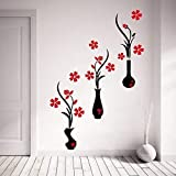 Best Pictures For Living Room Decors - Decor Kafe 'Red and Black Flower Pots' Wall Review
