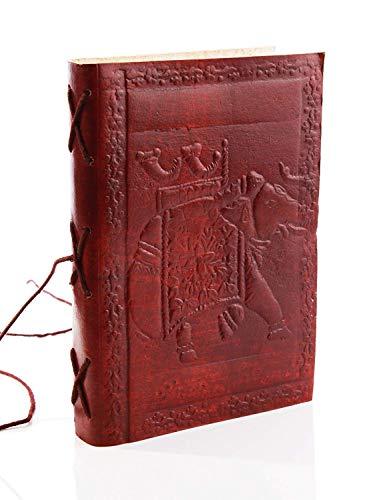 Aheli Regal Diario personale da viaggio in pelle goffrata con elefante (17,8 x 12,7 cm) con fogli sfoderati e chiusura a filo, per uomo e donna