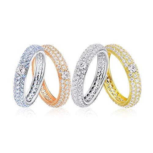 CCWANRZ Engagement/WeddingSilver Ringe für Frauen Engagement Ehering White Cubic Zirconia Eternity Ring 925 Sterling Silber Modeschmuck, Rose Gold Plated, 6.75