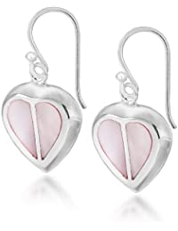 48c8baba2d264 Tuscany Silver Sterling Silver Pink Mother of Pearl Heart Drop Earrings