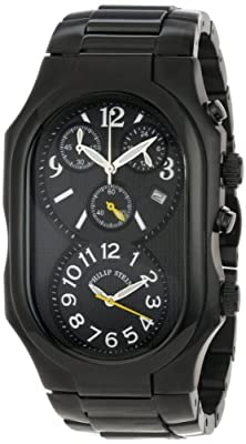 Philip Stein Men's 3B-NBY-SSBP Signature Black Plated Chronograph Black Plated Stainless Steel Bracelet Watch