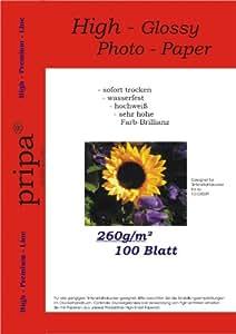 pripa 100 Blatt Fotopapier DIN A4 , 260g/qm , high -glossy (hoch-glaenzend) -sofort trocken -wasserfest-hochweiß-sehr hohe Farbbrillianz, fuer InkJet Drucker (Tintenstrahldrucker).