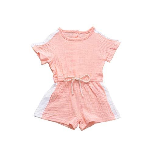 e Baby Mädchen Junge Strampler Streifenmuster Trägerhose Kurzarm Jumpsuit Romper Kleinkind Spielanzug 0-4 Jahre Prinzessin Kleidung Outfits Sommer ()