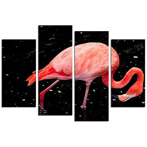 Ren&nnnn Peinture Décorative sans Cadre Combinée Latérale HD Flamingo, 20X40X2 20X60X2