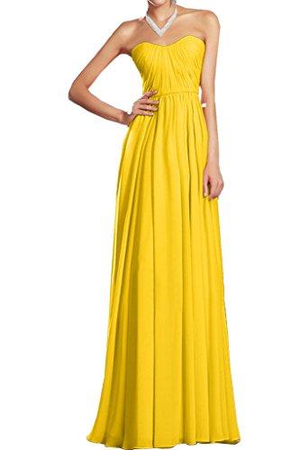 Missdressy Elegant Chiffon Lang Herzform Traegerlos Falten Abendkleid Partykleid Ballkleid Festkleid Brautjungfernkleid Kleid fuer Hochzeit Golden