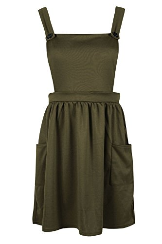 Be Jealous Women Pinafore Dungaree Cross Back Ladies Side Pocket Mini Skater Dress Playsuit