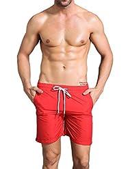 De los hombres de baloncesto de formación de fitness pantalones cortos nocturnos funcionan reflectante mecha transpirable pantalones de playa casuales 7034 , red , m