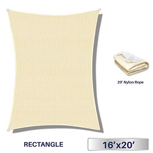 windscreen4less 12'x 16' Sonne Segel Rechteck Himmel mit kommerziellen Grade (3Jahre Garantie) Individuelle Größen erhältlich -
