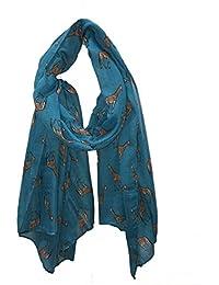 Teal giraffe long soft scarf