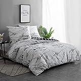 QZY Baumwolle Bettwäsche 3er Set Bettbezug mit 2 Kopfkissenbezug 80x80 cm mit Reißverschluss (200 x 200 cm, Gitter)