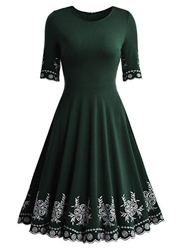 Miusol Damen Abendklei Sommer Kurz vintage Rockabilly Kleid Cocktail Ballkleid Blau Gr.36-44 B-Gruen