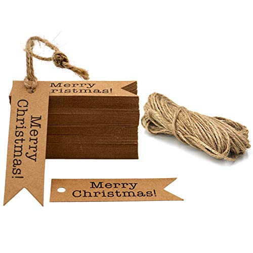 Merry Christmas Gift Tags, 100 PCS Kraft Paper Labels, 2 x7 cm Hanging Decoration Tags with 30 Meters Jute Twine (Brown)