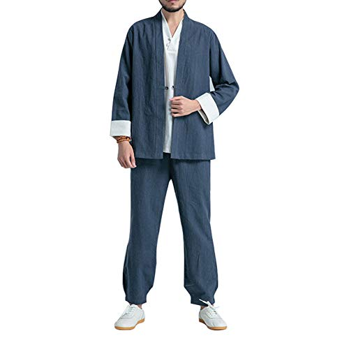 ZZUU Tai Chi Uniform - China Shaolin, Tai Chi Kung Fu Herren-Kampfsport-Trainings-Freizeitset, Leinen,Blue,S Uniform Chino