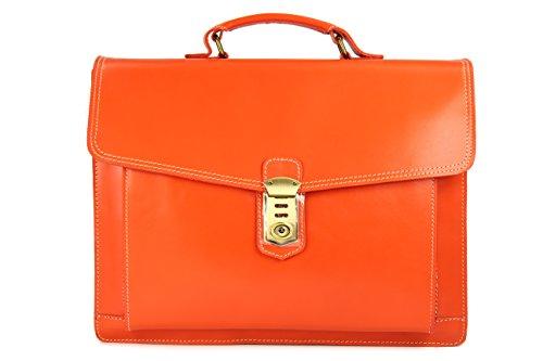 Belli 'Design Bag D XXL ital. Leder Handtasche Business Bag orange - 40x30x12 cm (B x H x T)