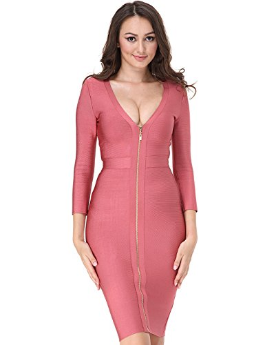 Adyce Verband Bandage-Kleid-rosa lange ?rmel knielangen sexy tiefe v - frauen bodyconKleid mit rei?verschluss wieder xs (Masquerade Kleid Schwarz Mit Blau)