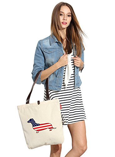 So'each Women's Us Flag Dog Lover Graphic Top Handle Canvas Tote Shoulder Bag